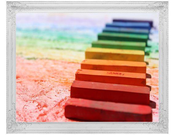 Pastel Chalk Print, Colorful Wall Decor, Kid's Nursery Art, Children's Instant Download