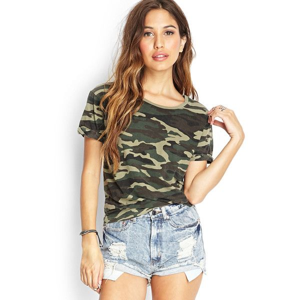 87a751b584c9 Forever 21 Women's Camouflage Cuffed Tee (18 BAM) ❤ liked on Polyvore  featuring tops, t-shirts, camo top, round neck t shirt, camo t shirt, forever  21 t ...