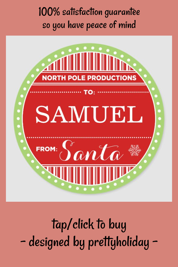 North Pole Productions Christmas Sticker Tags - tap, personalize, buy right now! #christmas #tags #north #pole #santa