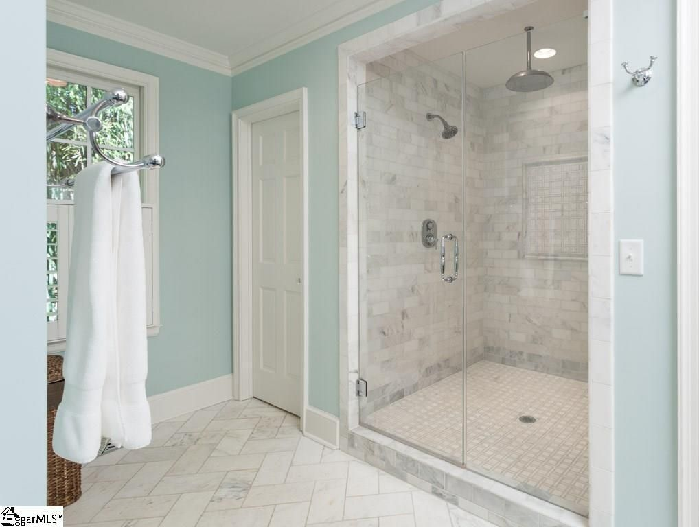 Transitional 3 4 Bathroom With Frameless Showerdoor Honed X 12 Marble Field Tile In White Carrara By Bedrosians