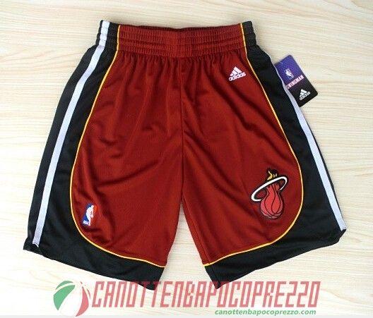 pantaloncini nba poco prezzo Miami Heat rosso Nuovi tessuti