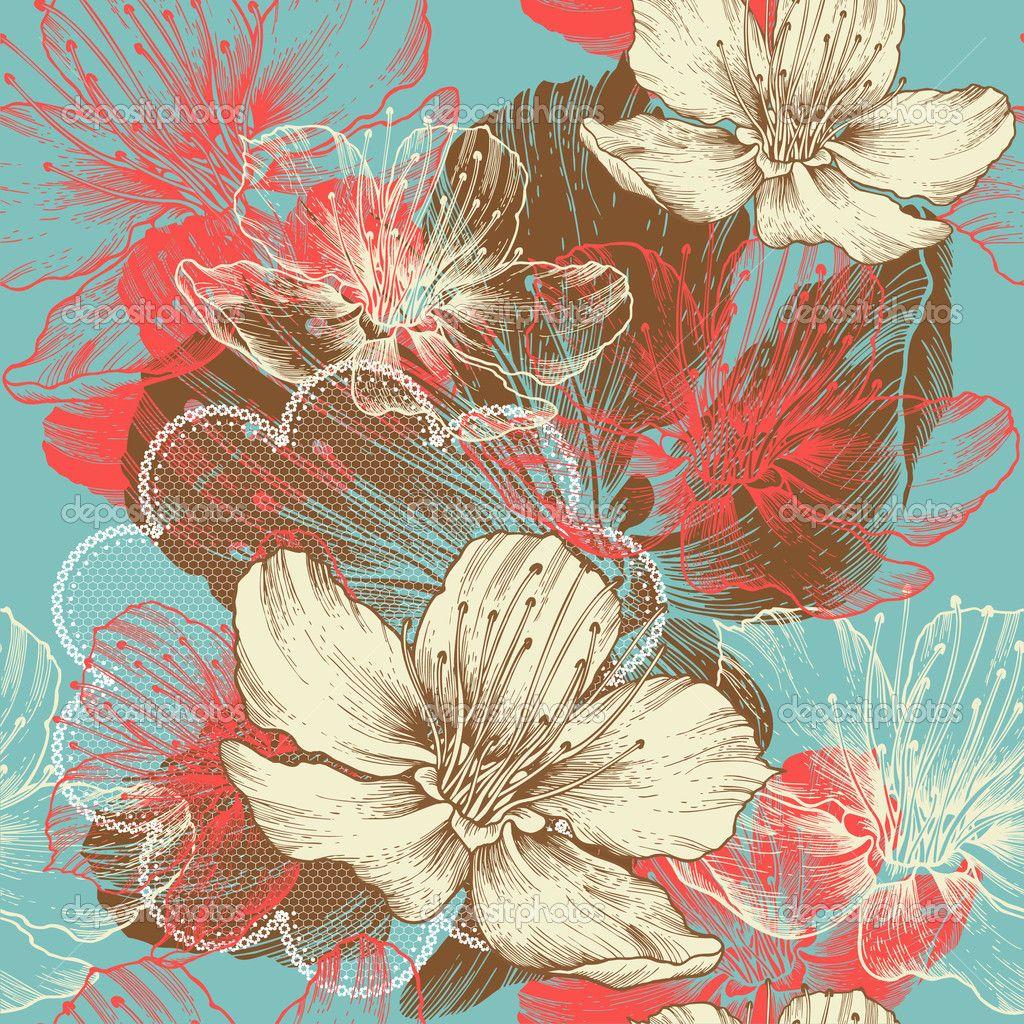Бесшовный цветочный фон с цветами apple, рука рисунок, вектор — стоковая иллюстрация #12079620