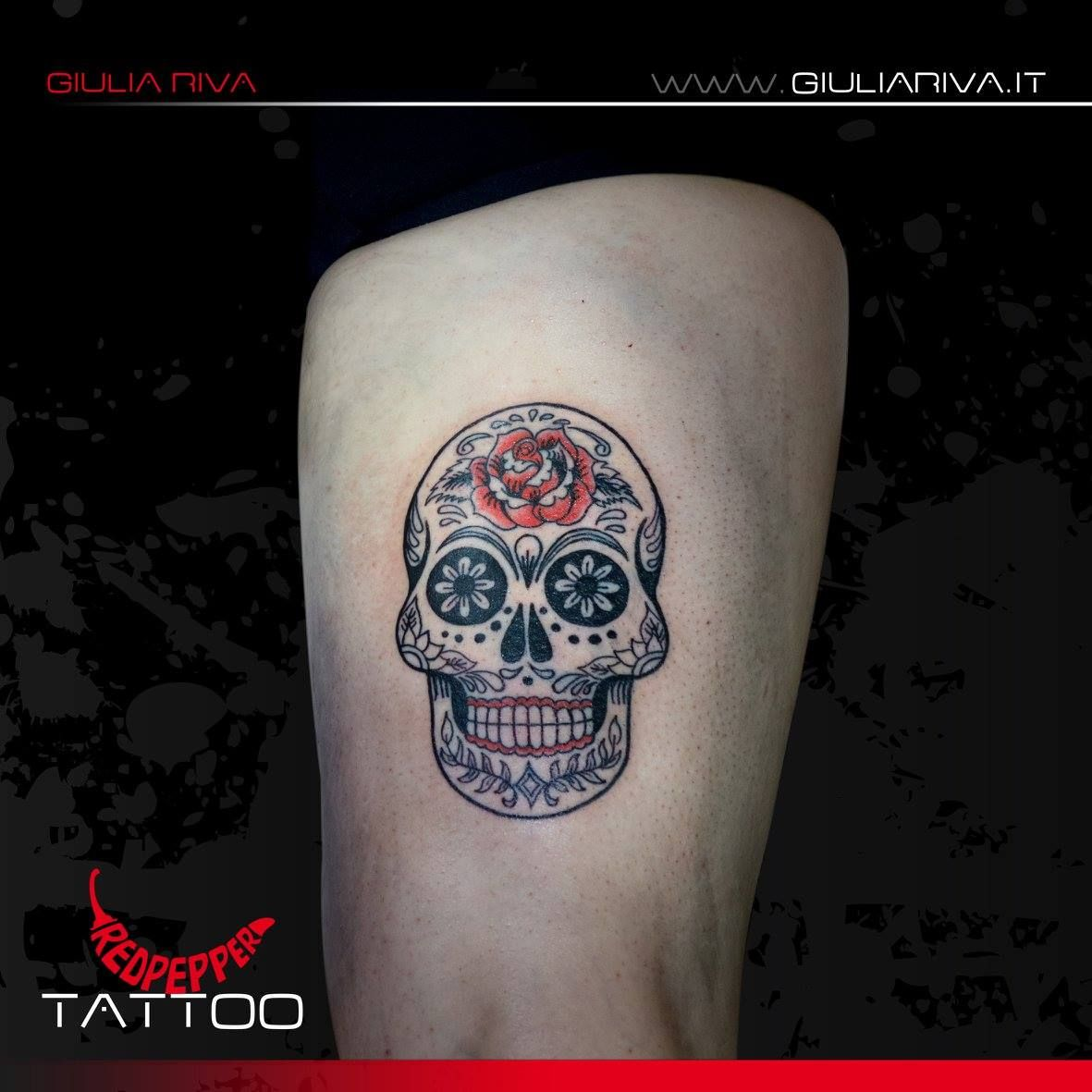 """Mexican calavera"" Tattoo #mexicancalavera #calavera #calaveratattoo #muertos #redpeppertattoo © Giulia Riva Art"