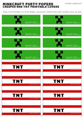 Printable Minecraft Creeper Tnt Party Popper Cover Templates