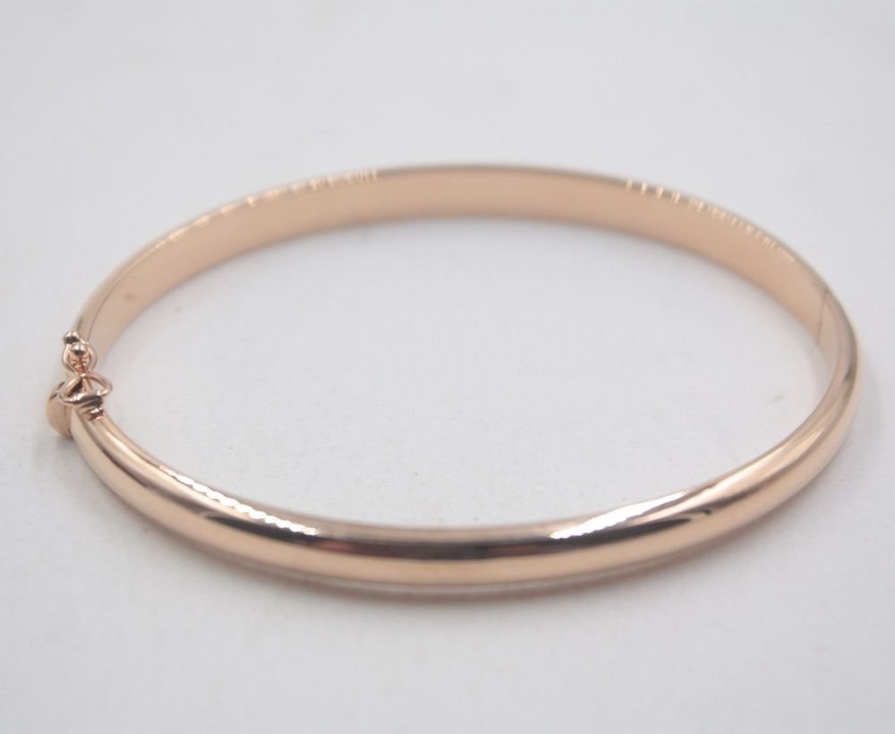 Au pure k rose gold bangle best gift women smooth bracelet