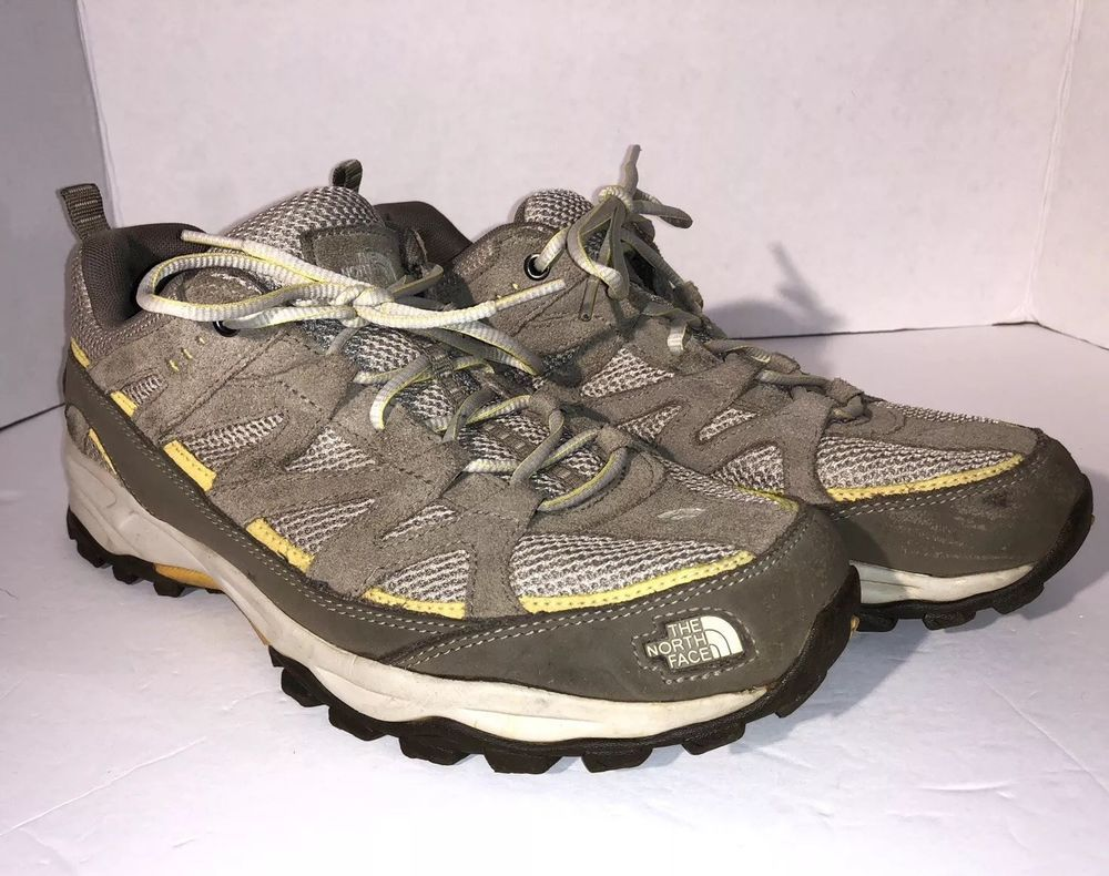9162029c7c2 Womens The North Face Hiking Shoes Size 11 Tan Khaki Yellow Bottom ...