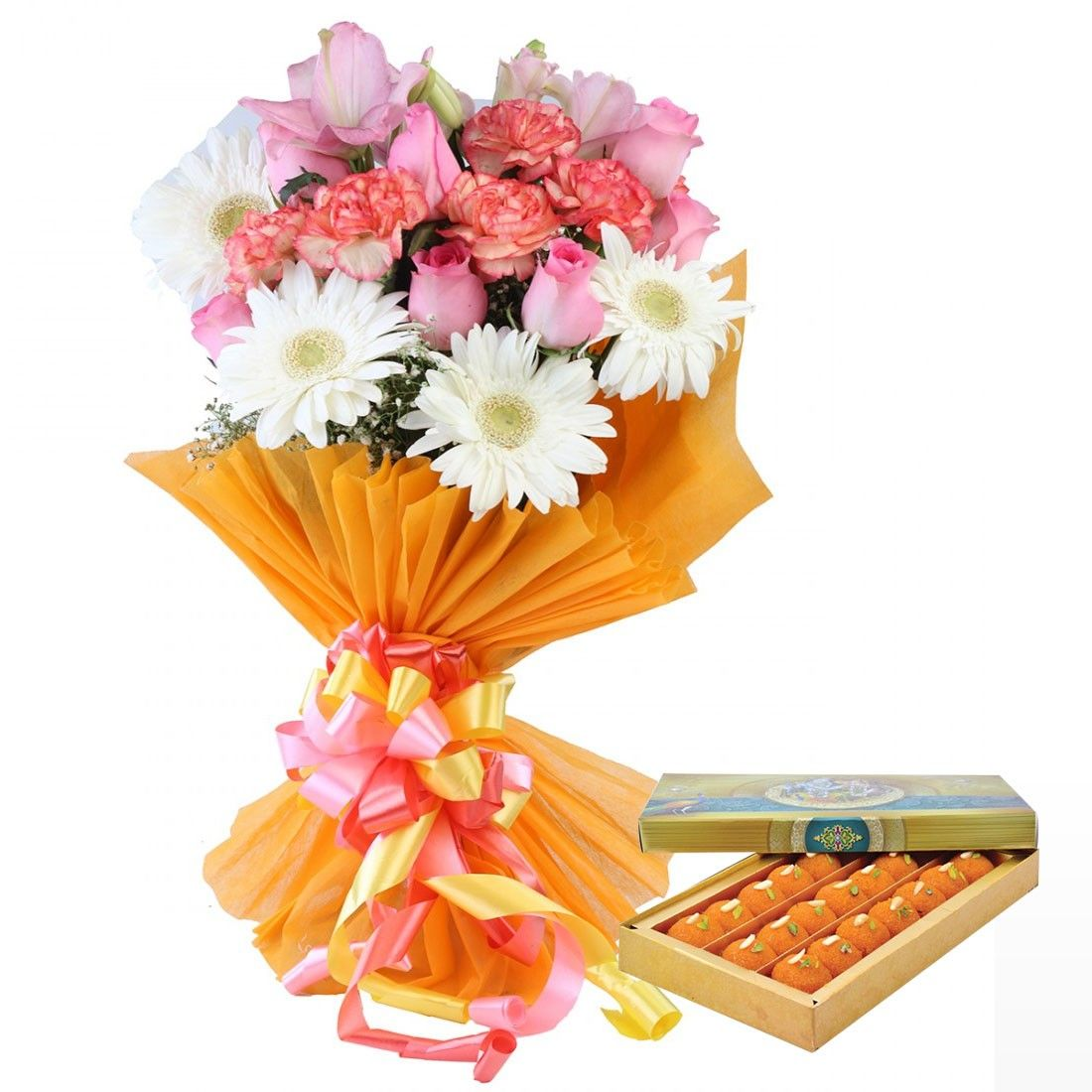 Bouquet Of 15 Mix Flowers 3 Gerberas 5 Carnations 7 Roses With Sweets Same Day Delivery Gifts Buy Bouquet Carnations Same Day Delivery Gifts