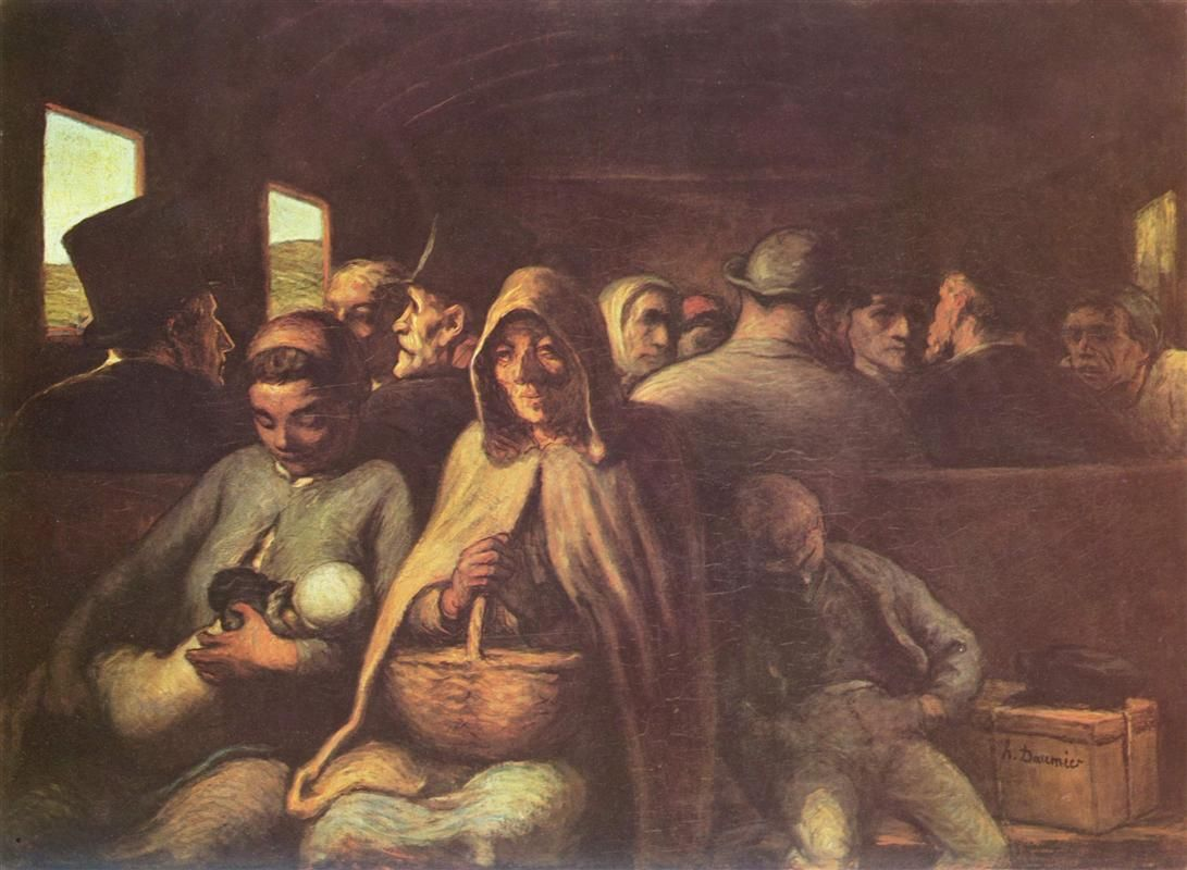 A Wagon of the Third Class, 1862 by Honore Daumier. Realism. genre painting. National Gallery of Canada, Ottawa, Canada
