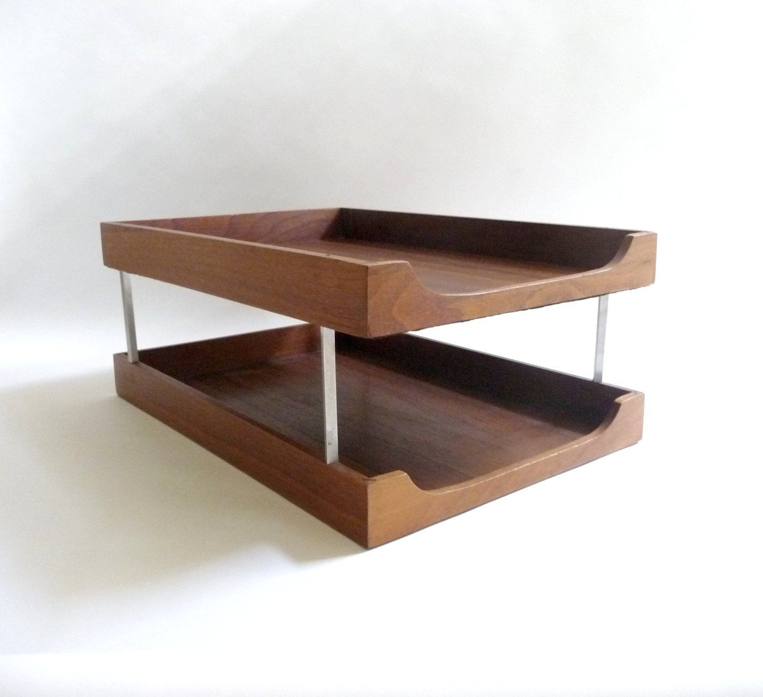 Mid Century Modern Wood And Metal Letter Tray Desk Organizer Mid