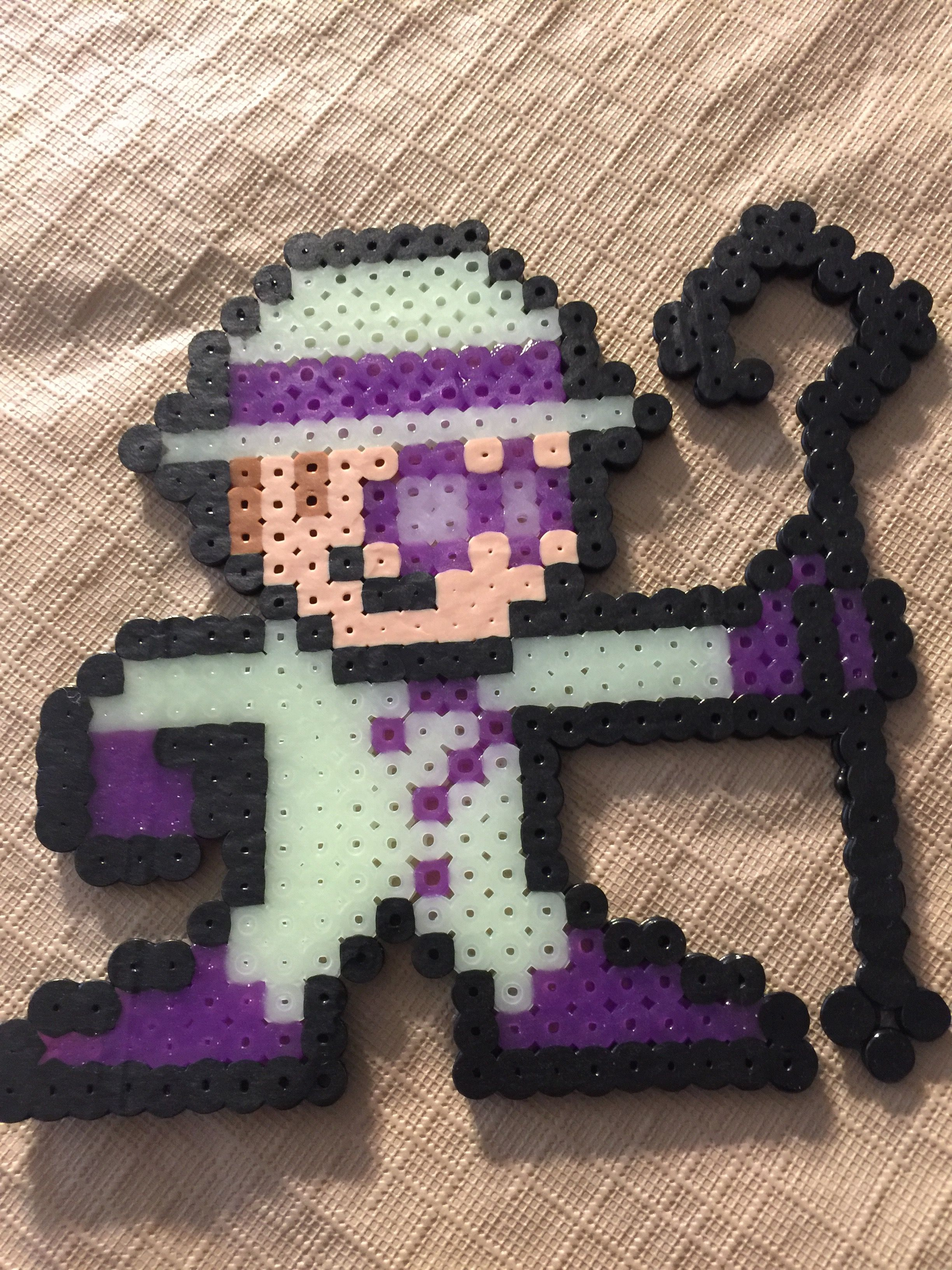 The riddle with glow in dark costume and hat