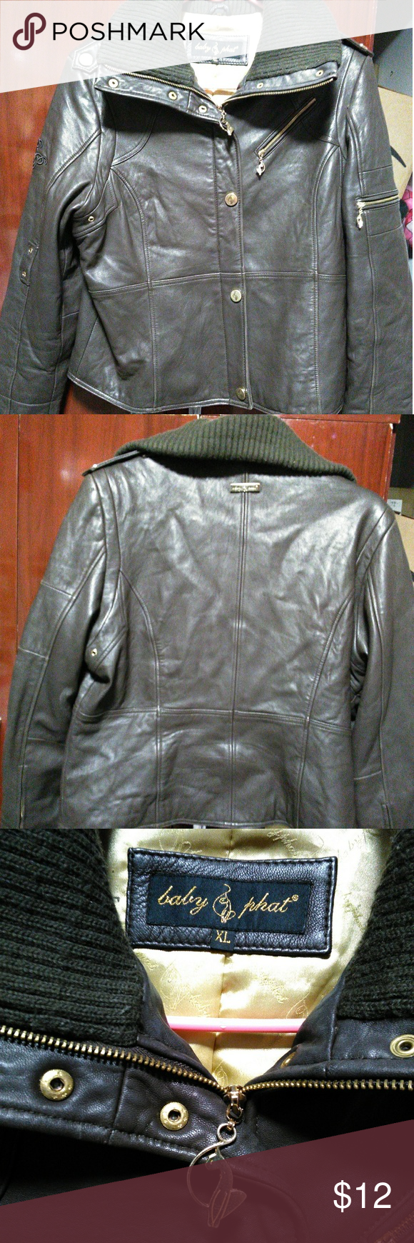 754046b49894 Baby Phat leather jacket Brown and gold baby phat leather thick warm ...