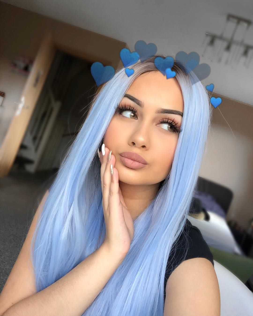 Long Light Cerulean Bright Blue Straight Synthetic Lace Front Wig Hair Styles Cool Hair Color Light Blue Hair