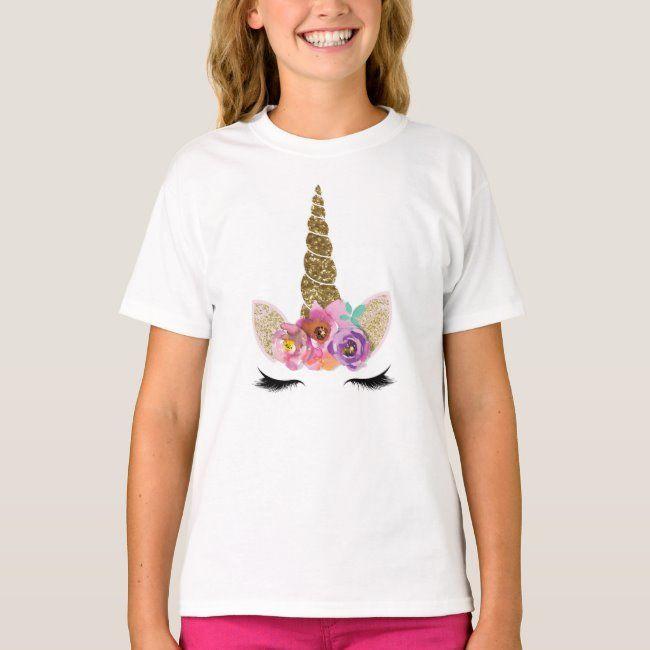 Gold Glitter Unicorn Horn Floral Glam Modern Girls T-Shirt   Zazzle.com
