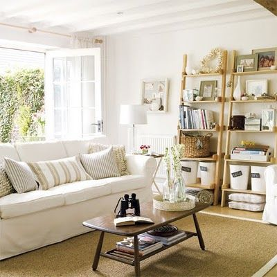 There is something so calming about natural and white. I'd have to get rid of my dog--ain't gonna happen. (Pinned from: The Painted Hive | A Little Weekend Away)
