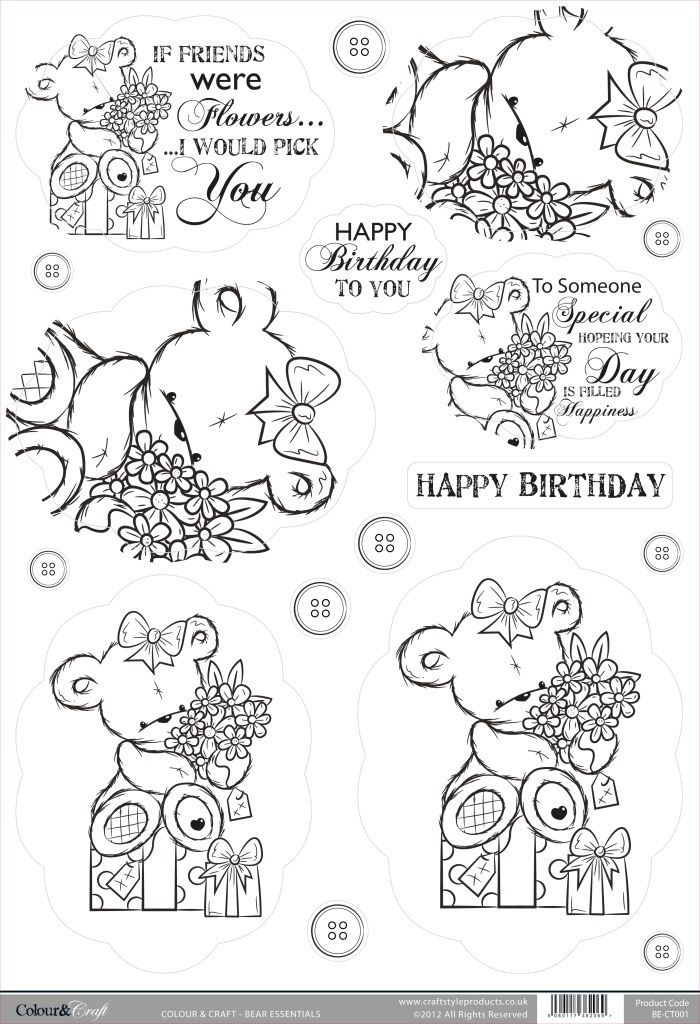 Buzzcraft Colour & Craft cute die cut toppers - Bear Flowers ...