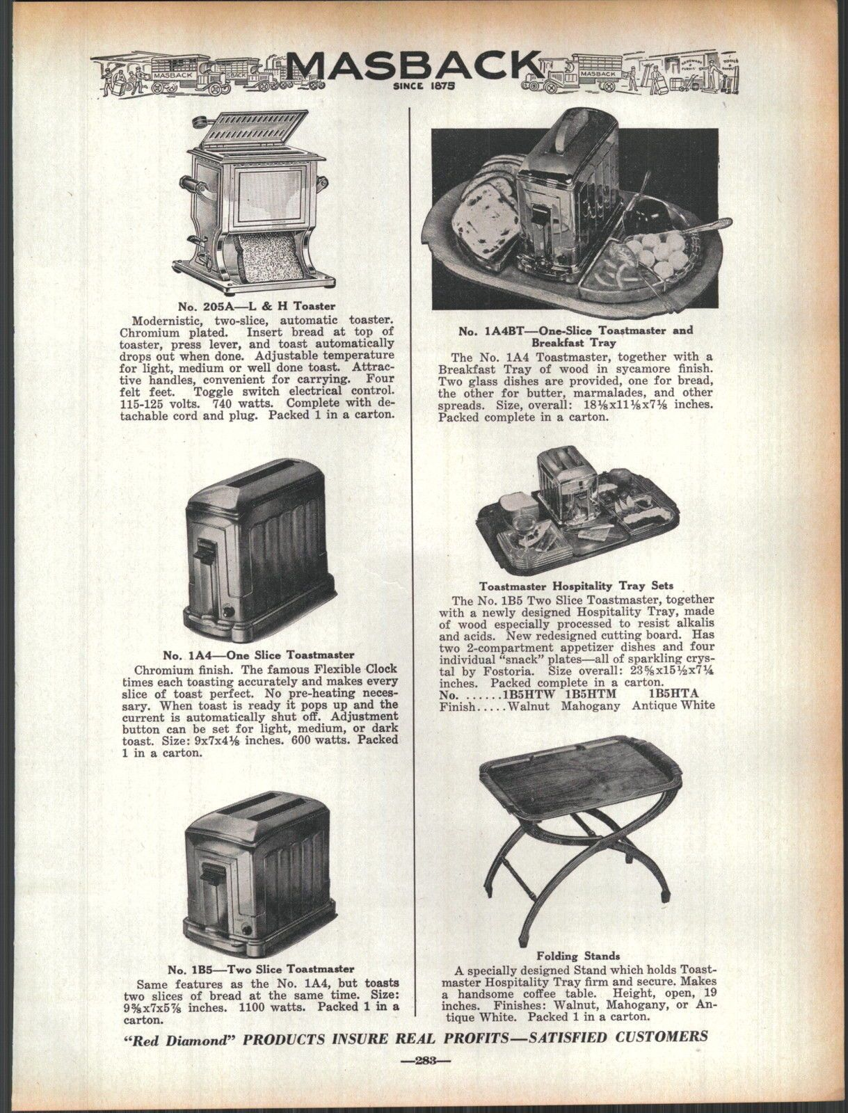 Catalog ad showing Toastmaster toasters hospitality tray and