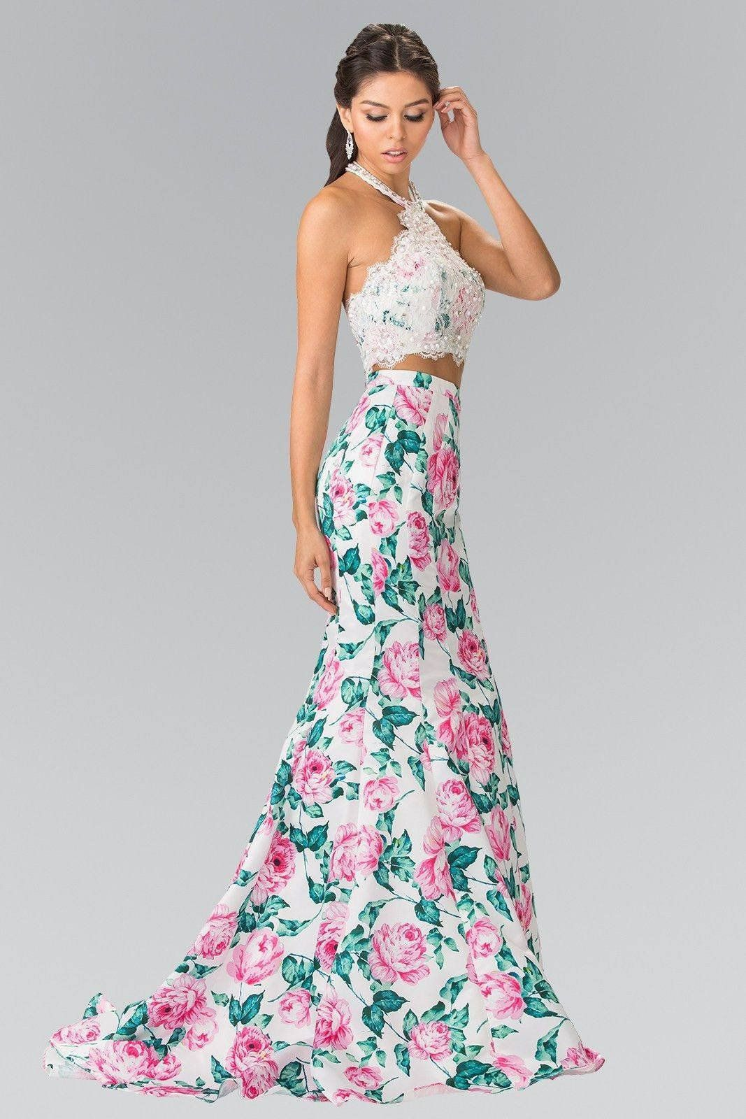 8c891f2b815 Stunning sexy 2 piece floral mermaid prom dress with lace crop top. A floral  prom dress with halter neckline adorn with elaborate beading on bodice and  cut ...