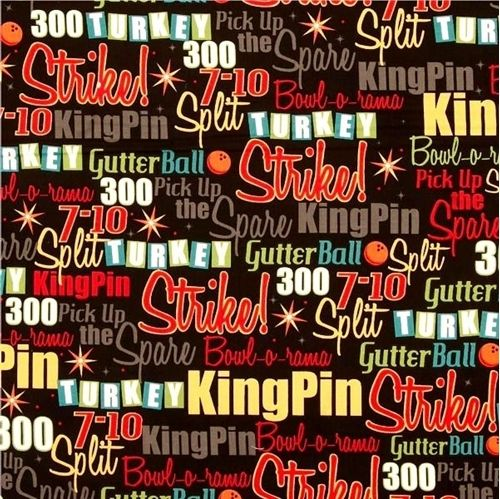 4my3boyz Fabrics Sells This Great It S A Strike Bowling Terms Strike King Pin Split Spare Cotton Fabric Family Rules Chalkboard Wall Art Wall Plaques