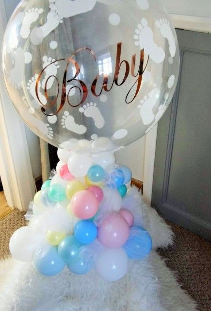 Organic Balloon Arrangement With Baby Feet Bubble For A Baby