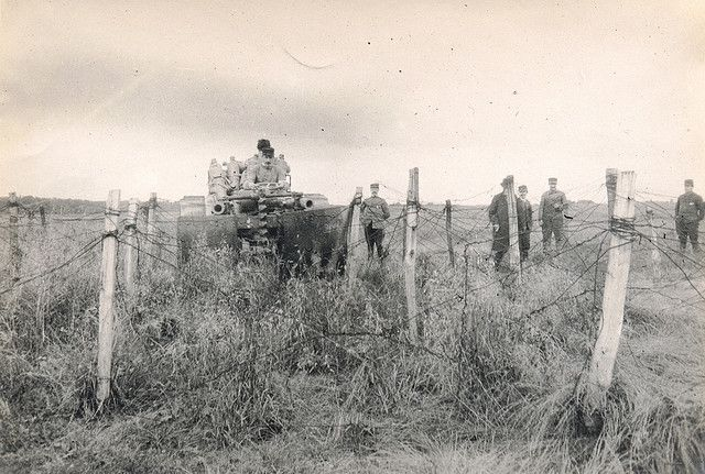 Drahtverhau Schneider Traktor by drakegoodman, via Flickr Undated photograph. French tractor fitted with a device designed to plough a path through barbed wire.WW I