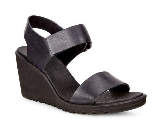 91e71a49f ECCO Freja Wedge Strap Sandal (BLACK)