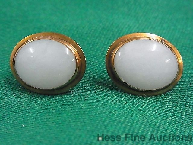 Vintage 14k Gold Jade Genuine Jadeite 1950s Ultra Fine Earrings No Reserve