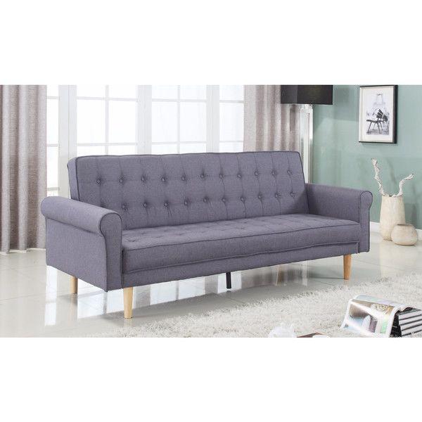 Modern Mid Century Sofa Sleeper Futon In Grey Linen With