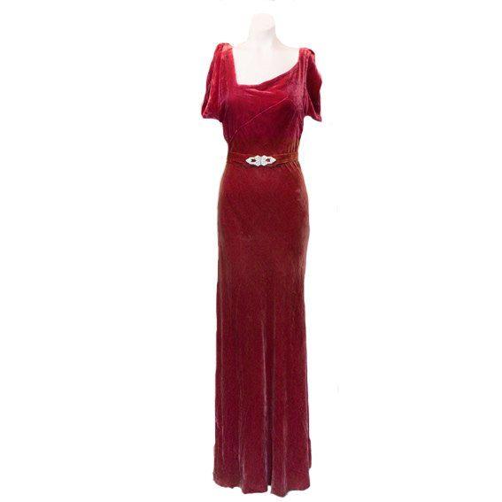 6aa4ddc823 1930 s Silk Bias Cut Velvet Gown Cranberry Red