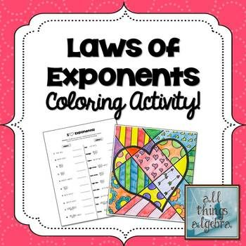 Exponent Rules Laws of Exponents Coloring Activity