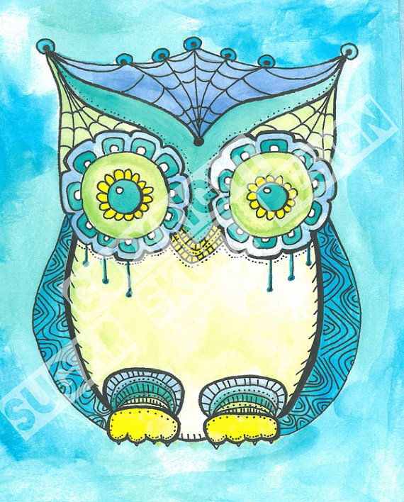 Decorated Owl Print - 8x10
