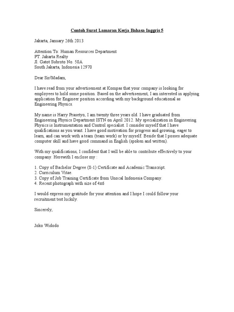 21 Jenis Contoh Surat Lamaran Kerja Umum Guru Karyawan Lain2 Bahasa Ejaan Surat