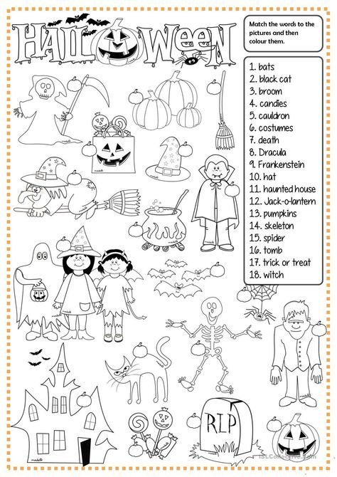 One Click Print Document Halloween Worksheets Halloween Lesson Halloween School Halloween worksheets pic word matching