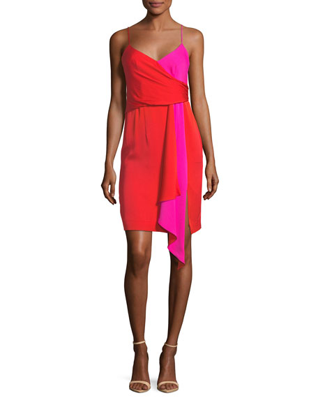 Milly Cindy Two Tone Red Pink Stretch Silk Dress Dresses Silk Wrap Dresses Silk Dress