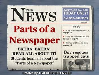 Parts Of A Newspaper Powerpoint Lesson Powerpoint Lesson