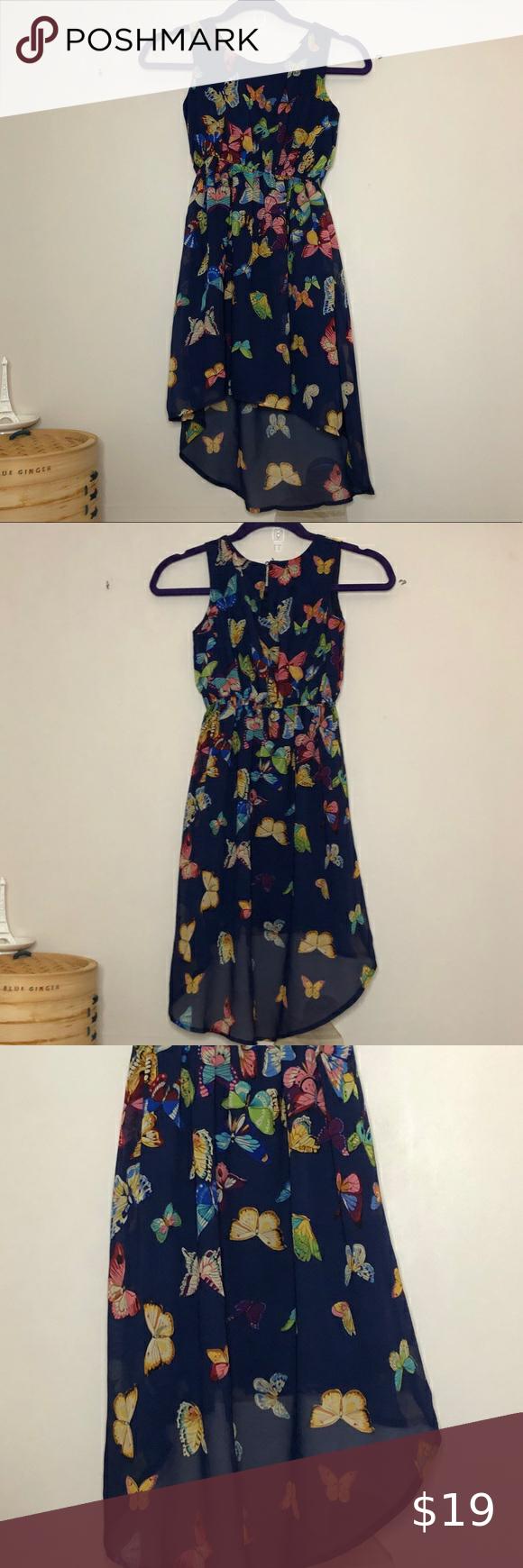 Btween Sz 10 Lined Blue Butterfly Dress Butterfly Dress Girls Butterfly Dress Floral Dress Black [ 1740 x 580 Pixel ]