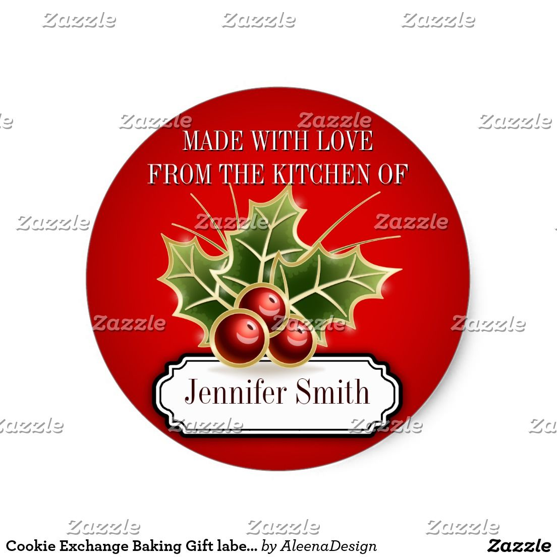 Cookie Exchange Baking Gift Label With Holly Berry Pinterest