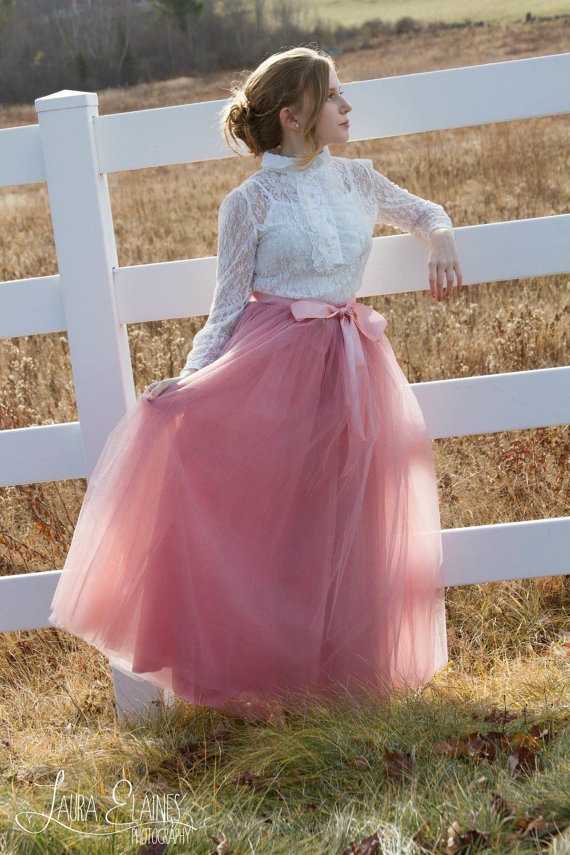ee5b3acf718 Womens Full lengthTutu Rose Pink Tulle skirt by MaidenLaneBoutique ...