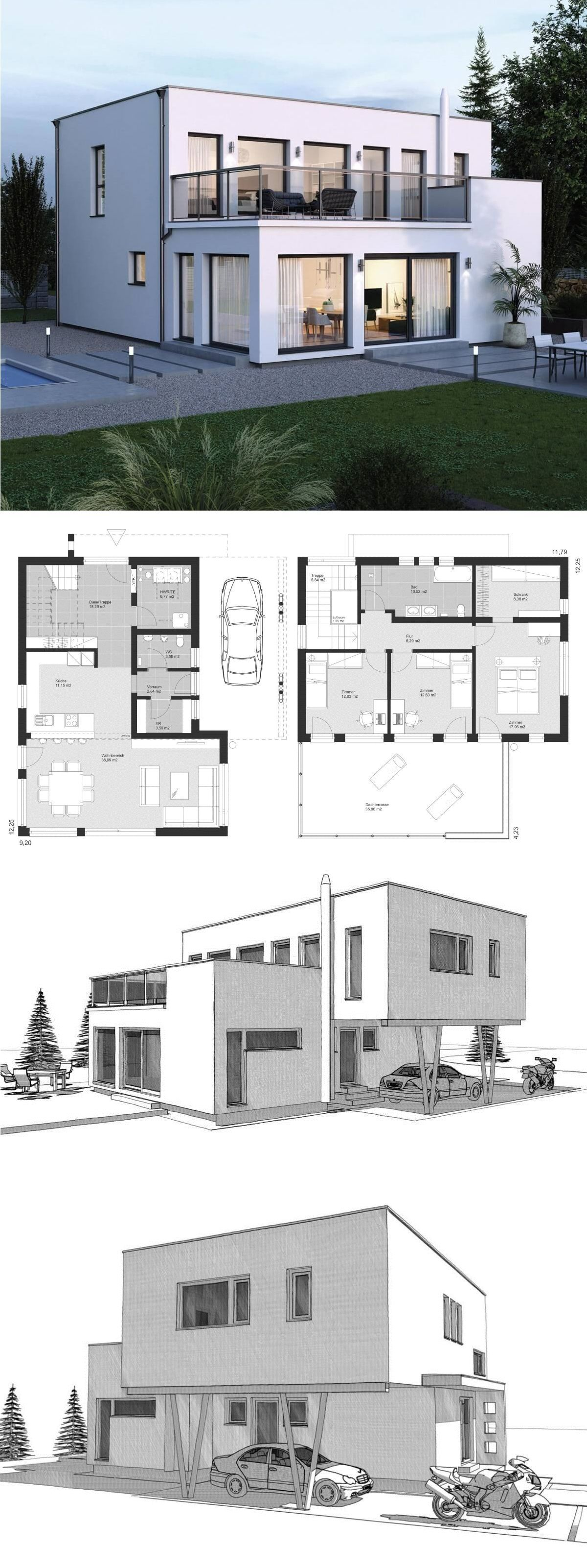 Moderne Bauhaus Stadtvilla Grundriss Mit Flachdach Architektur Carport Dachterrasse Einfamilienhaus Bauen Ideen F Haus Architektur Bauplan Haus Haus Plane