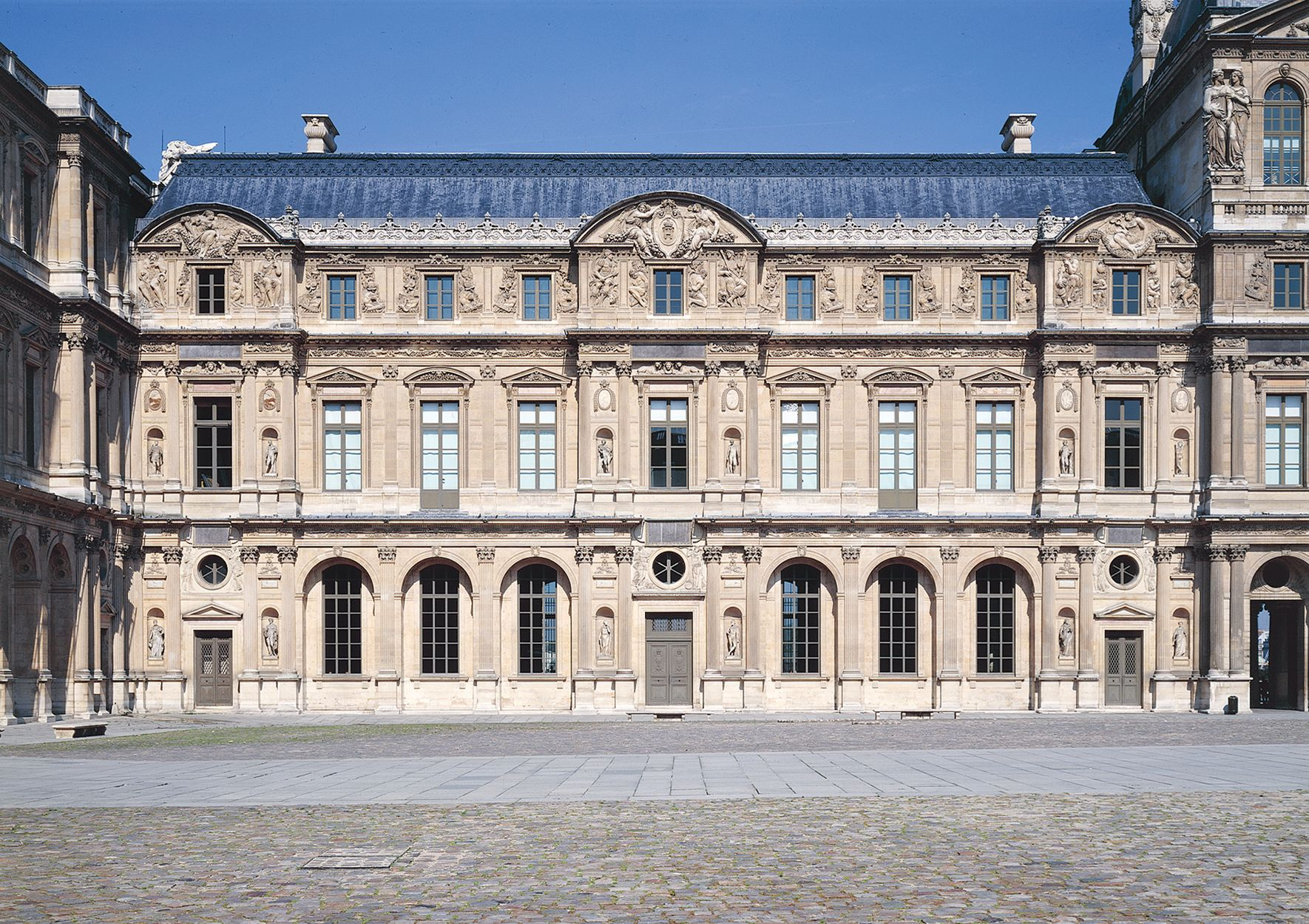 French architecture square court of the louvre paris - Louvre architekt ...