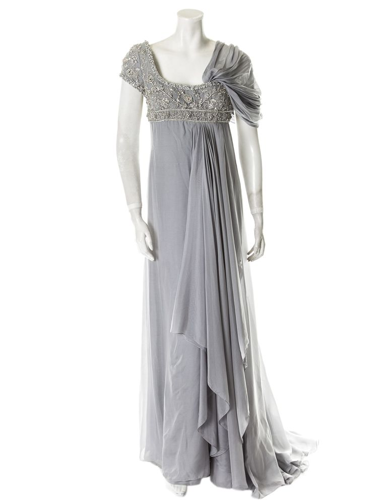 Marchesa Evening Gown Grey evening gown with silver embroidery ...