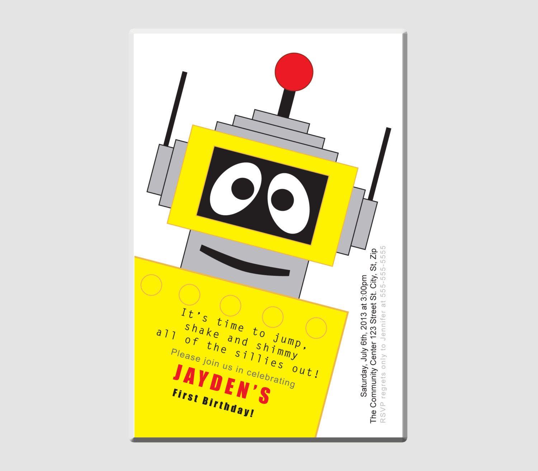 Plex Robot Yo Gabba Gabba Birthday Party Invitation. $15.00, via ...