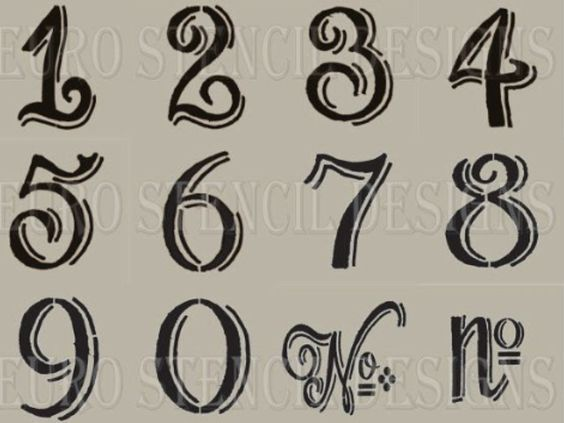 vintage table numbers template letter number stencil templates