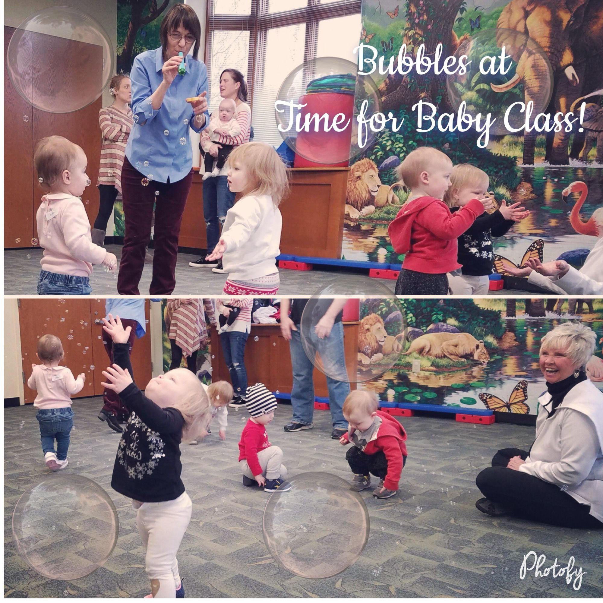 """Time for Baby"" class is always so much fun...especially when Ms. Patti brings out the bubbles! ☺️"