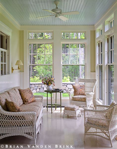 I Like The Classic Blue Painted Ceiling On The Sun Porch Ev