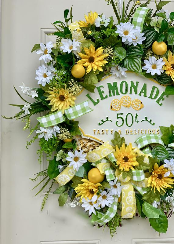Photo of XXL Lemonade Grapevine Wreath – Grapevine Summer Wreath for the front door – Everyday Wreath – Rustic floral wreath