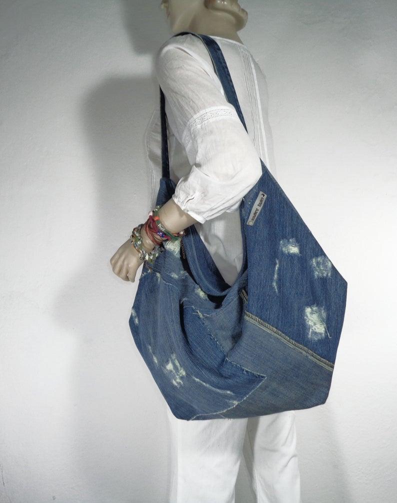 crazy shopper bag Denim tote bag ecofriendly large slouch shoulder bag oversized huge handbag