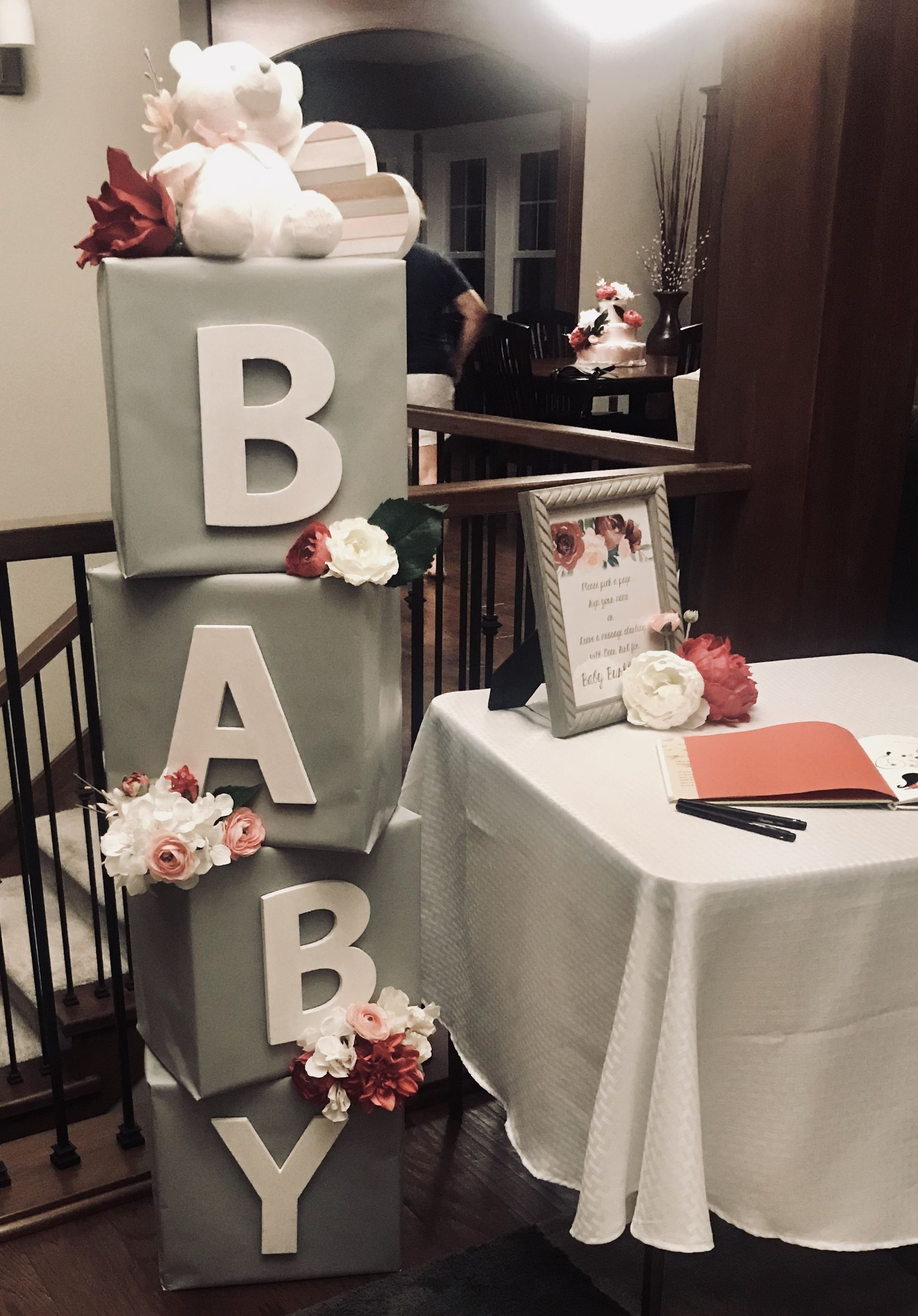 Baby Shower Decor Baby Blocks Floral Baby Shower Decor Floral