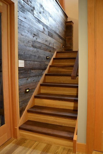 Walnut Stair Treads Reclaimed Grey Elm Risers Douglas Fir | Distressed Wood Stair Treads | Oak Stair | Bullnose Manufacturing | Straight Edge Wood | White Oak | Heavy Timber Stair