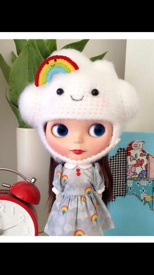 Crochet rainbow cloud helmet