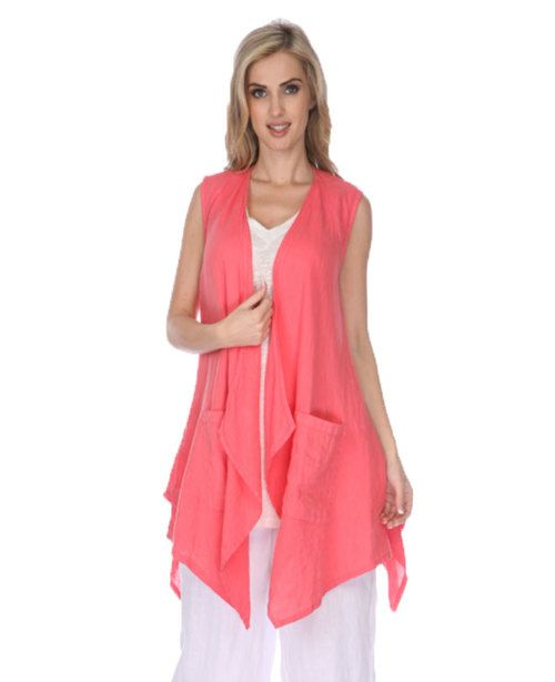 fcc5b0f012 Long Sleeveless Vest  MatchPoint. Match Point women s linen clothing Long  sleeveless vest with button strape back detail.